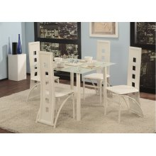 5 Pc. White Contemporary Dining Set