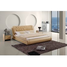 Modrest Contemporary Tufted Beige Leatherette Bed