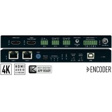 4K UHD AV over IP Encoder with Independent Video, Audio, KVM/USB Routing. Audio De-Embed with Volume, Delay, and Bass/Mid/Treble Control, 2 port PoE LAN Switch, HDMI Pass-through, 3 port IR, RS-232, Trigger Master Controller / Control Gateway.