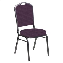 Crown Back Banquet Chair in Jewel Aubergine Fabric - Silver Vein Frame