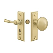 Storm Door Latch, Rectangular, Tubular Lock - Unlacquered Brass