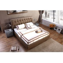 Modrest 1103 Modern Beige Bonded Leather Bed w/ Storage