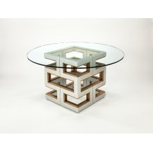 "Dining Table Base with Glass 28x28x30"", glass dia.60"""