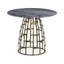 Breakfast Table with Geometric Antique Brass Base
