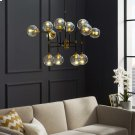 Ambition Amber Glass And Antique Brass 12 Light Pendant Chandelier Product Image