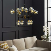 Ambition Amber Glass And Antique Brass 12 Light Pendant Chandelier