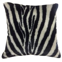 ZEBRA HIDE PILLOW  Faux Hair on Hide- Black  Poly Fill