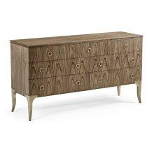 Hamilton Golden Amber & Brass Dresser with Seven Drawers