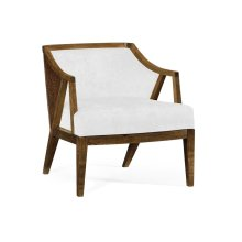 Oak & Rattan Occasional Chair, Upholstered in MAZO