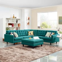 Empress 3 Piece Upholstered Fabric Sectional Sofa Set in Teal