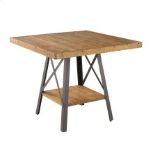 Square Gather Table-burnt Amber Finish-antique Black Metal Legs