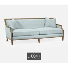 "86 1/2"" Casual Sloped Golden Amber Sofa, Upholstered in Will Gray Linen"