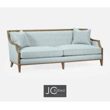 "86 1/2"" Casual Sloped Golden Amber Sofa, Upholstered in Will Gray Linen"