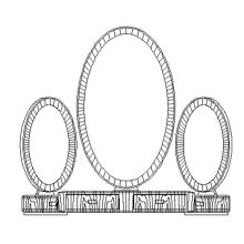 Art Deco style triple dressing mirror with brass (Satin)