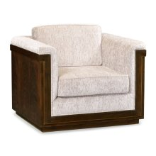 36'' Antique Mahogany Brown High Lustre Sofa Chair, Upholstered in COM