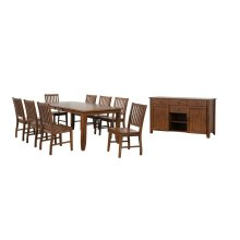 DLU-BR4272-C60-AMSB10PC  10 Piece Extendable Table Dining Set  Sideboard Amish Brown