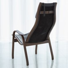 Mid-Century Wood/Leather Chair w/Neck Pillow