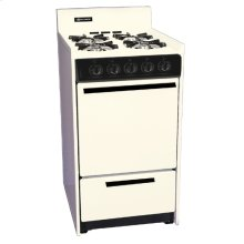 """Bisque gas range in slim 20"""" width with pilot light ignition; replaces STM110"""