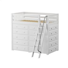 High Loft w/ Angle Ladder, 2 x5 Drawer Dressers & Narrow 5 Drawer Dresser : Twin : White : Slat