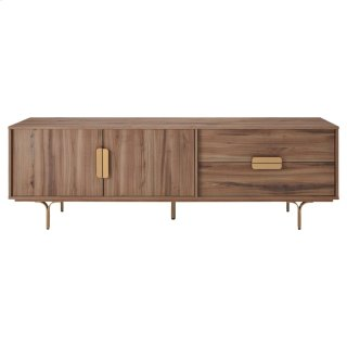 "Avielle 71"" KD TV Stand Gold Legs, Walnut"