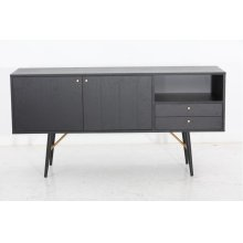 Modrest Billy Modern Black Oak & Gold Buffet
