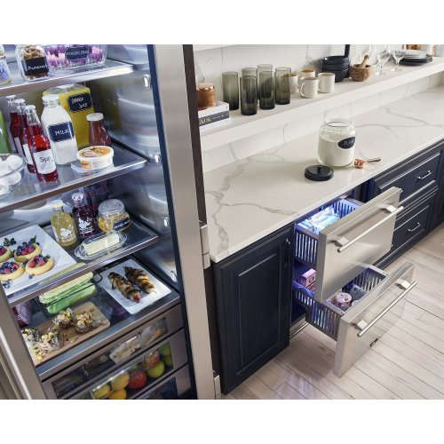 24 Inch Stainless Solid Door Undercounter Freezer - Right Hinge Stainless Solid