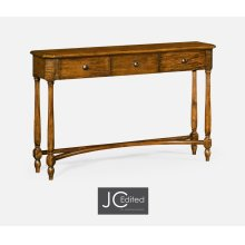 Country Walnut Three Drawer Large Console Table