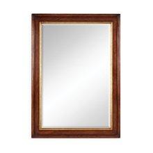 Plain walnut rectangular mirror with gilt inset