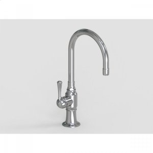 """Brushed Stainless - 7"""" Deck Mount Single Hole Swivel Bar Faucet Spout with Left Metal Traditional Lever Product Image"""