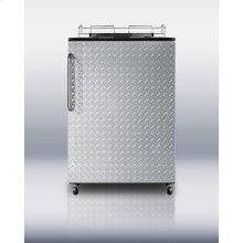 Freestanding auto defrost commercial beer dispenser in black with diamond plate wrapped door; no tap kit included