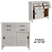 Bengal Manor Acacia Wood Sliding Door 4 Drawer Cabinet White Wash Finish