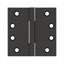 """4""""x4"""" Square Knuckle Hinges, Solid Brass - Oil-rubbed Bronze"""