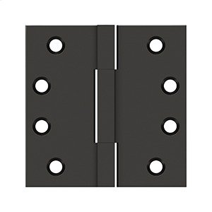 """4""""x4"""" Square Knuckle Hinges, Solid Brass - Oil-rubbed Bronze Product Image"""