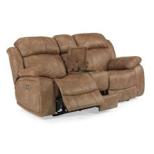 Como Fabric Power Reclining Loveseat with Console and Power Headrests
