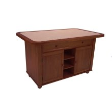 CY-KITT02-NUT  Nutmeg Kitchen Island with Terracotta Rose Tile Top