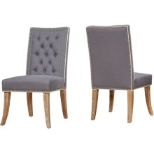 Garrett Grey Linen Dining Chair - Set of 2