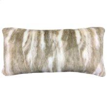 PIMA BOLSTER PILLOW- CREAM TAN  Faux Fur  Down Feather Insert