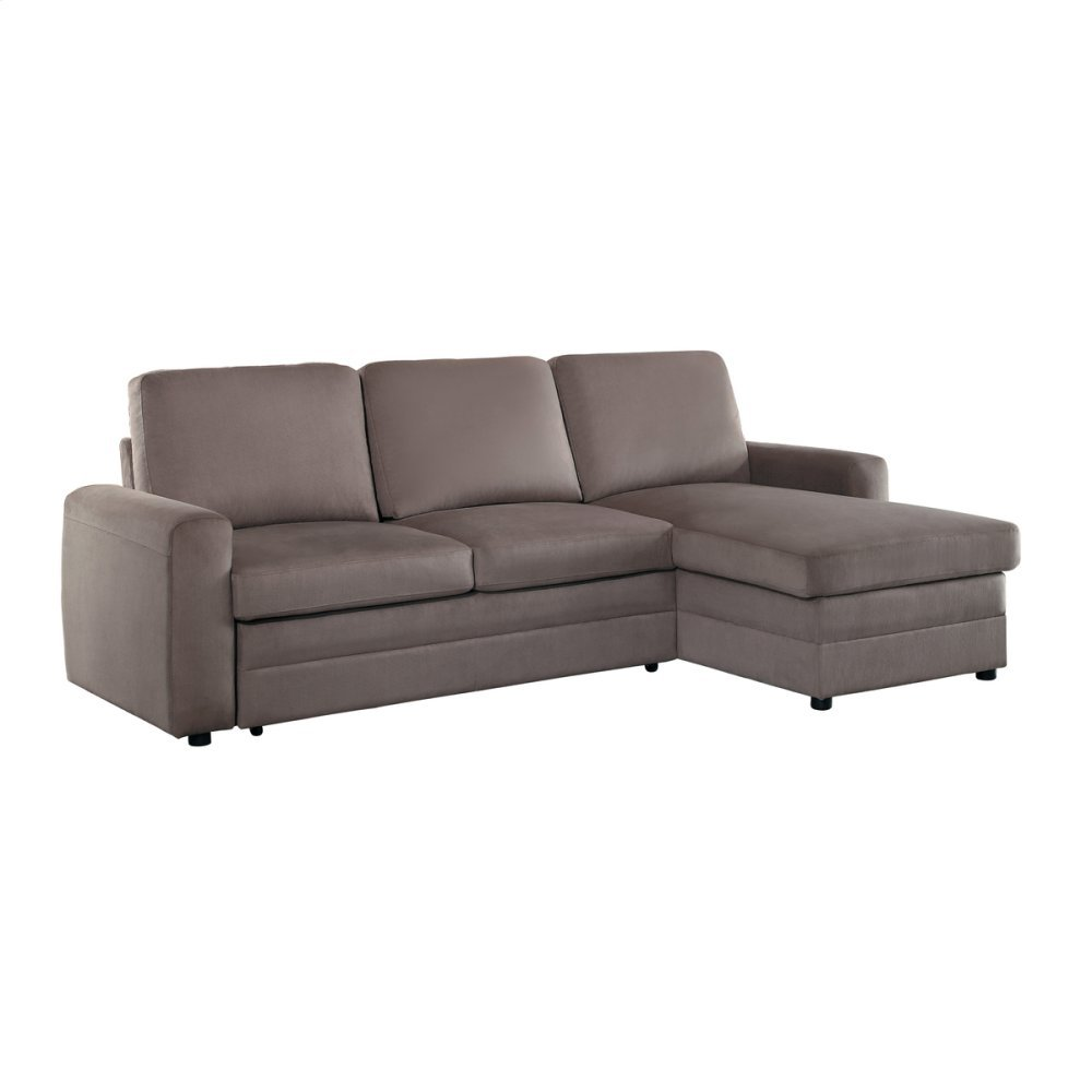 2-Piece Reversible Sectional with Pull-out Bed and Hidden Storage