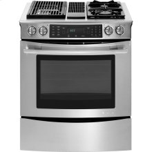 "Slide-In Modular Dual-Fuel Downdraft Range with Convection, 30"", Euro-Style Stainless Handle"