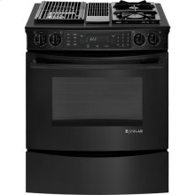 "Slide-In Modular Dual-Fuel Downdraft Range with Convection, 30"", Black Floating Glass w/Handle"