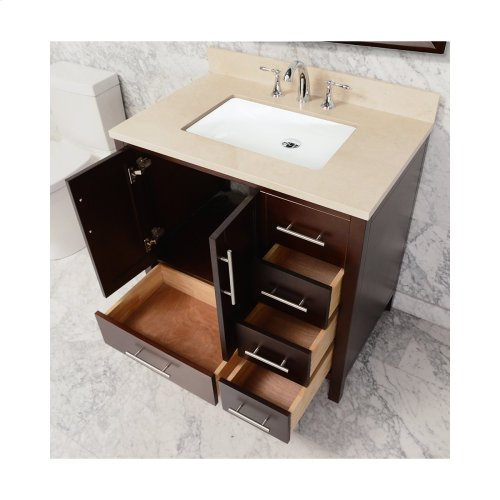 Espresso MALIBU 36-in Single-Basin Vanity Cabinet with Crema Marble Stone Top and Muse 20x13 Sink