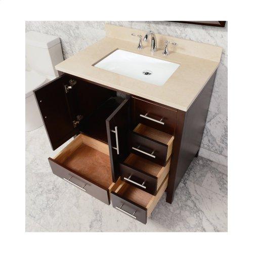 White MALIBU 36-in Single-Basin Vanity Cabinet with Carrara Marble Stone Top and Karo 20x13 Sink