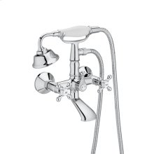 Wall-mounted bath-shower mixer with accessories