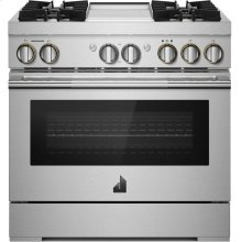"36"" RISE™ Dual-Fuel Professional-Style Range with Chrome-Infused Griddle, RISE"