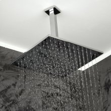 "Ceiling-mount tilting square rain shower head, 121 rubber nozzles. Arm and flange sold separately. 12""W, 12""D, 2 1/4""H."