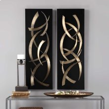 Brushstrokes Metal Wall Panels, S/2