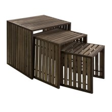 CKI Vermont Iron and Wood Nesting Tables - Set of 3