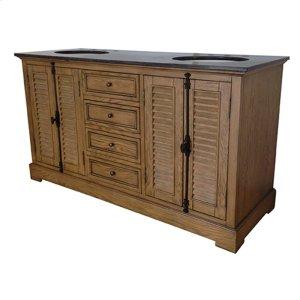 "Oak Ridge 4 Louvered Door / 4 Drawer 60"" Double Vanity Sink Product Image"