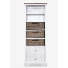 Simone Tall Bookcase (2 Drawers+3 Baskets+ 2 Shelves)-White (19X11X53)