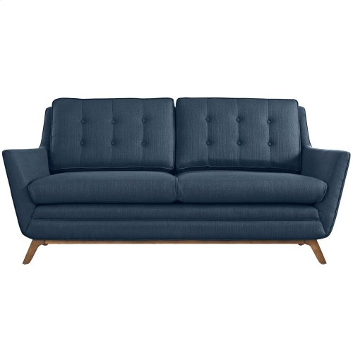 Beguile Upholstered Fabric Loveseat in Azure